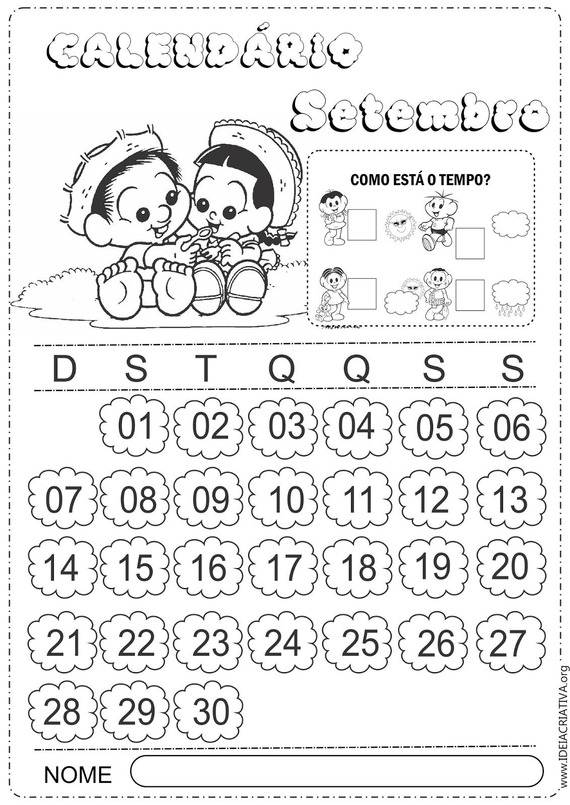 Calendários Setembro 2014 Com e Sem Numeração Turma da Mônica Baby
