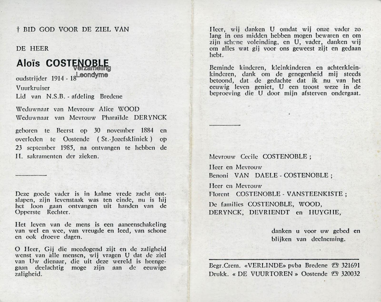 Bidprentje Aloïs Costenoble. Verzameling Leondyme