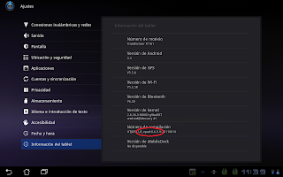 Imagen para saber la información de la tablet Asus Transformer