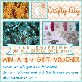 Crafty City blog candy with 150 followers