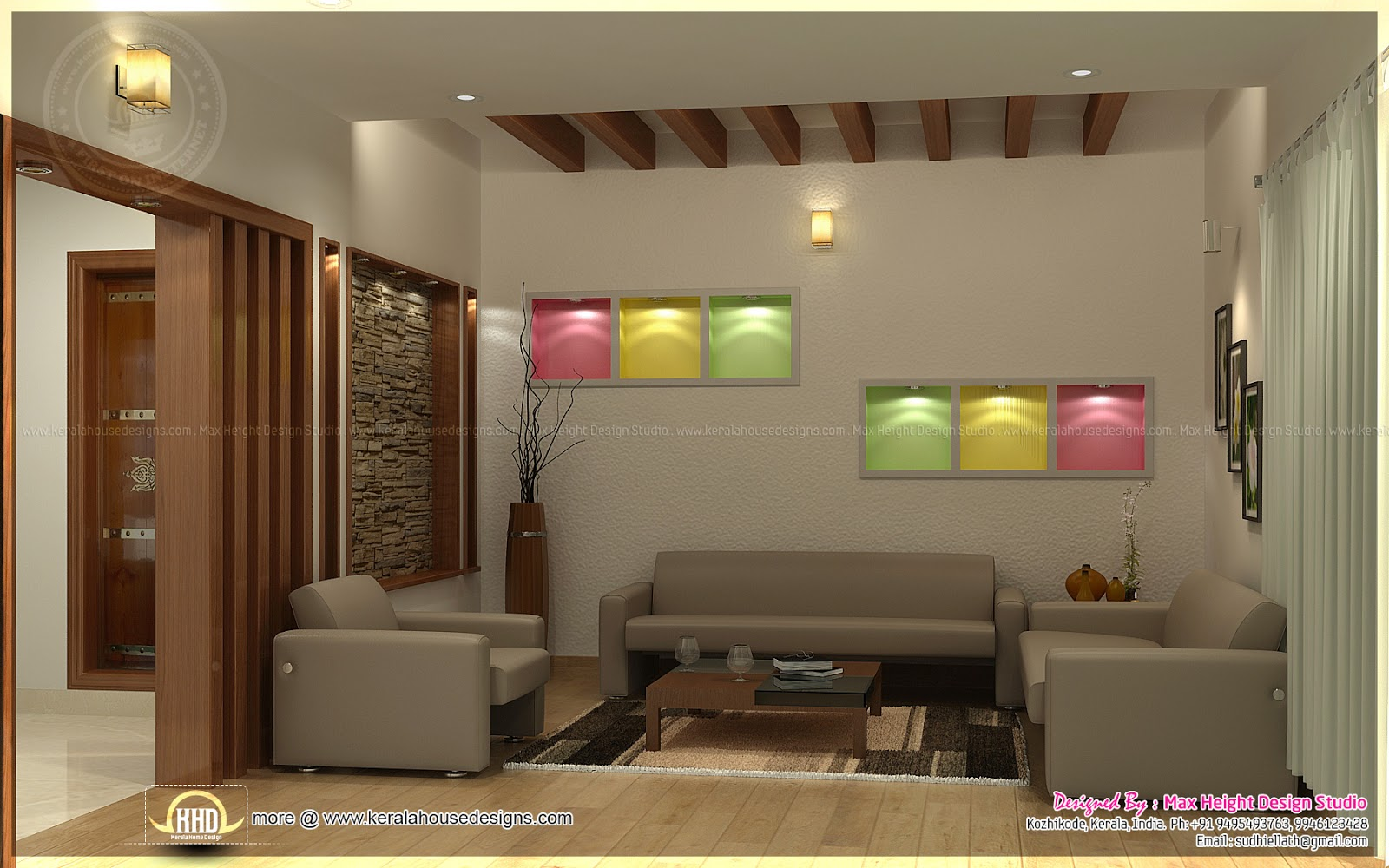 Beautiful interior ideas for home kerala home design and for Interior decoration living room roof