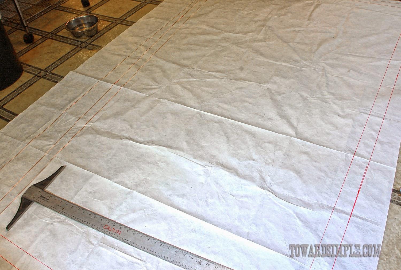 Lines drawn for DIY Tyvek tent footprint.