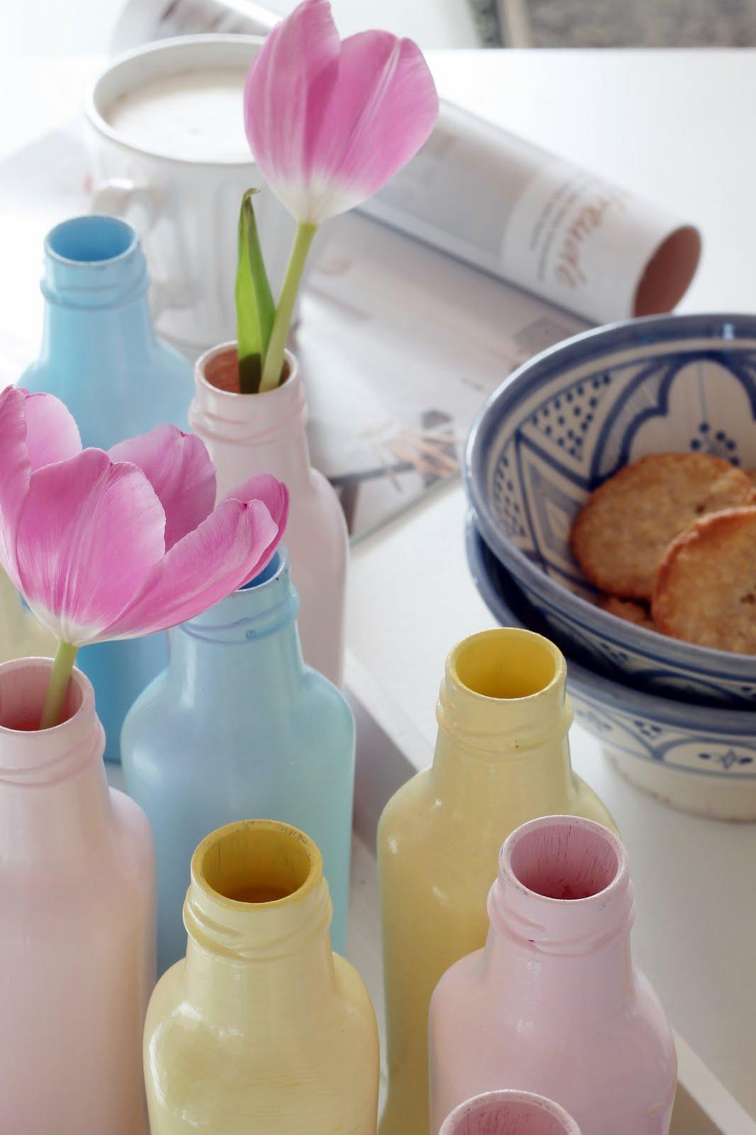 """DIY """"Glasflaschen in Pastell"""""""