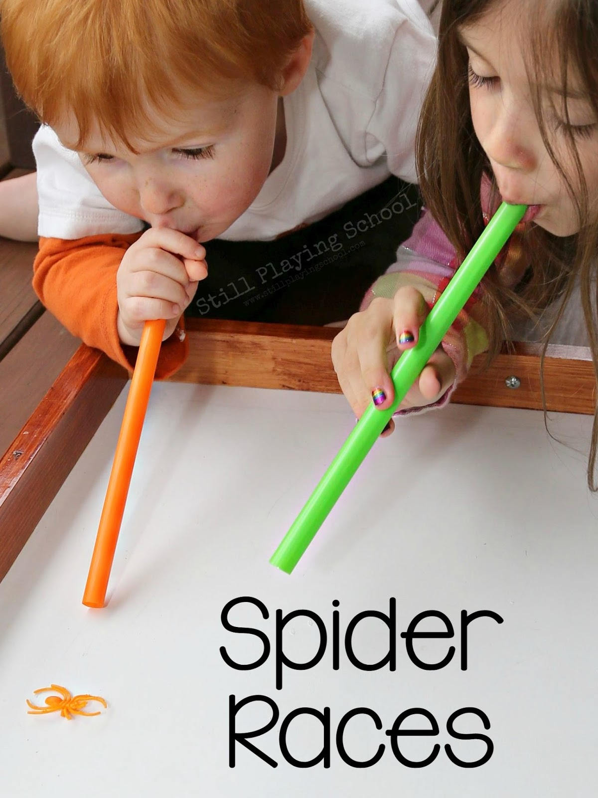 is super simple to set up for a halloween party it also has the added benefits from being an oral sensory exercise this spider race game resulted in