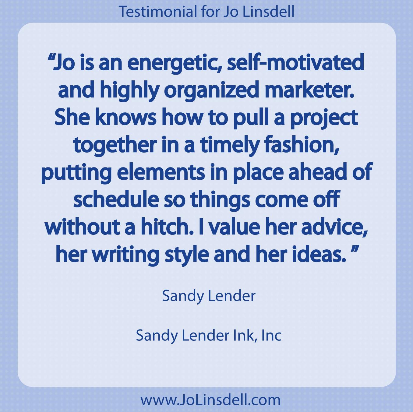 Testimonial for Jo Linsdell by Sandy Lender