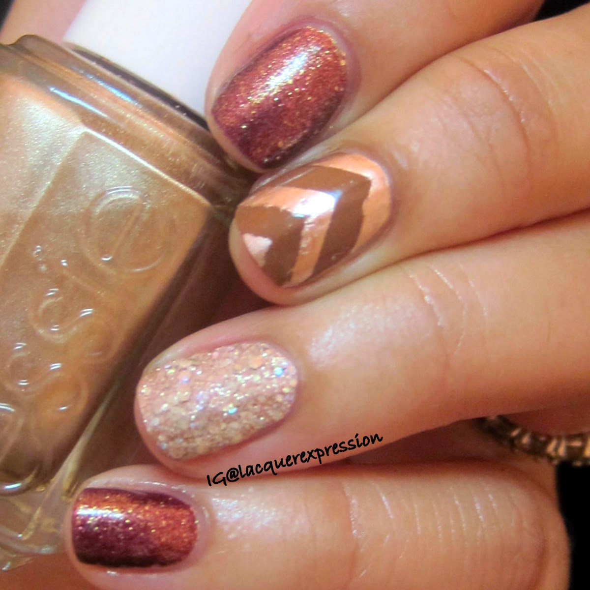 Fall inspired manicure using essie penny talk