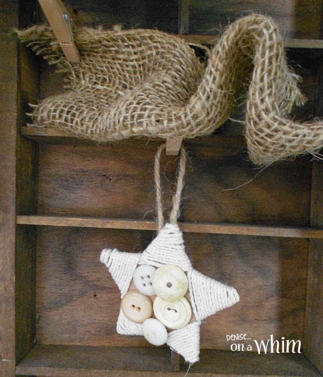 Cardboard Stars with Twine and Vintage Buttons  | Denise on a Whim
