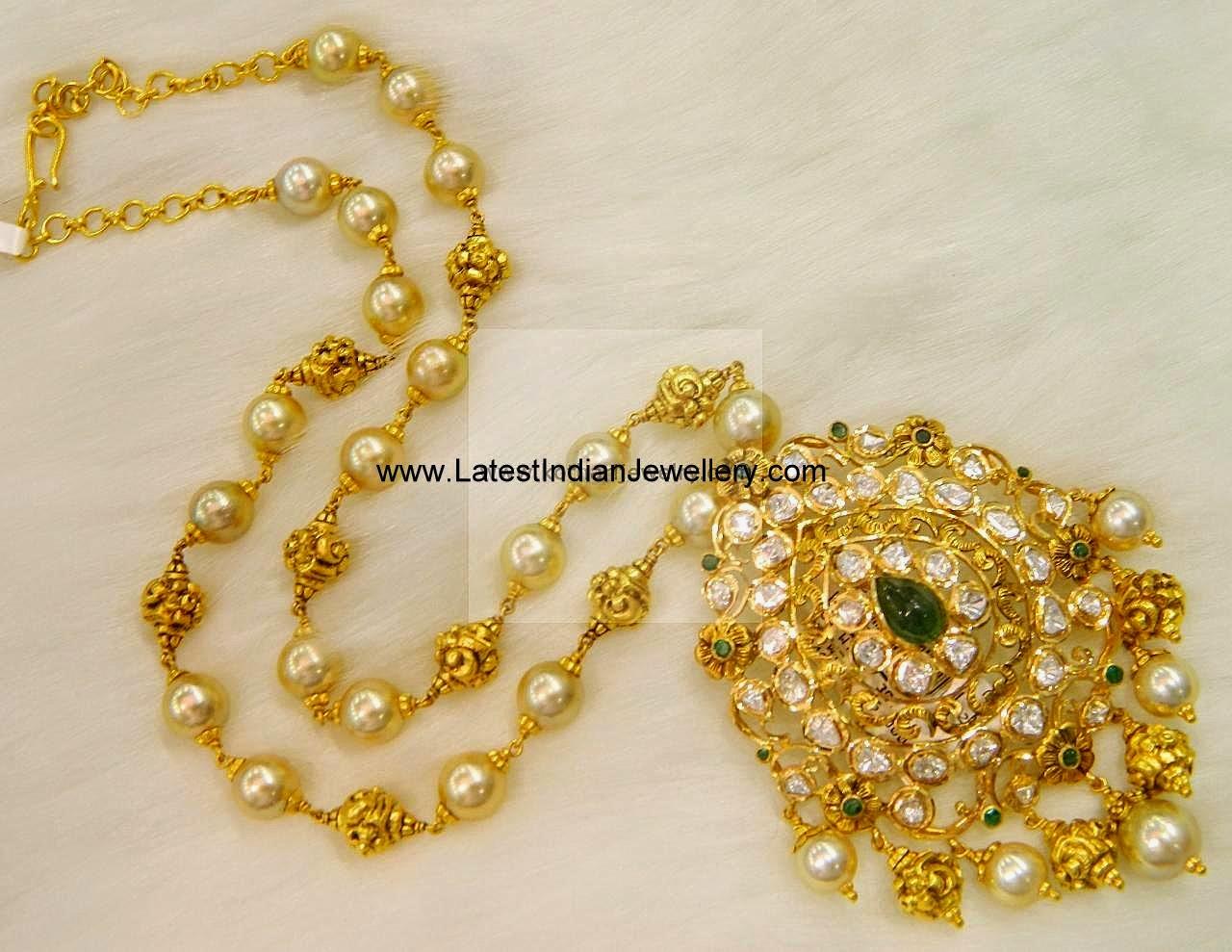 Pearls Nakshi Beads Mala Polki Pendant