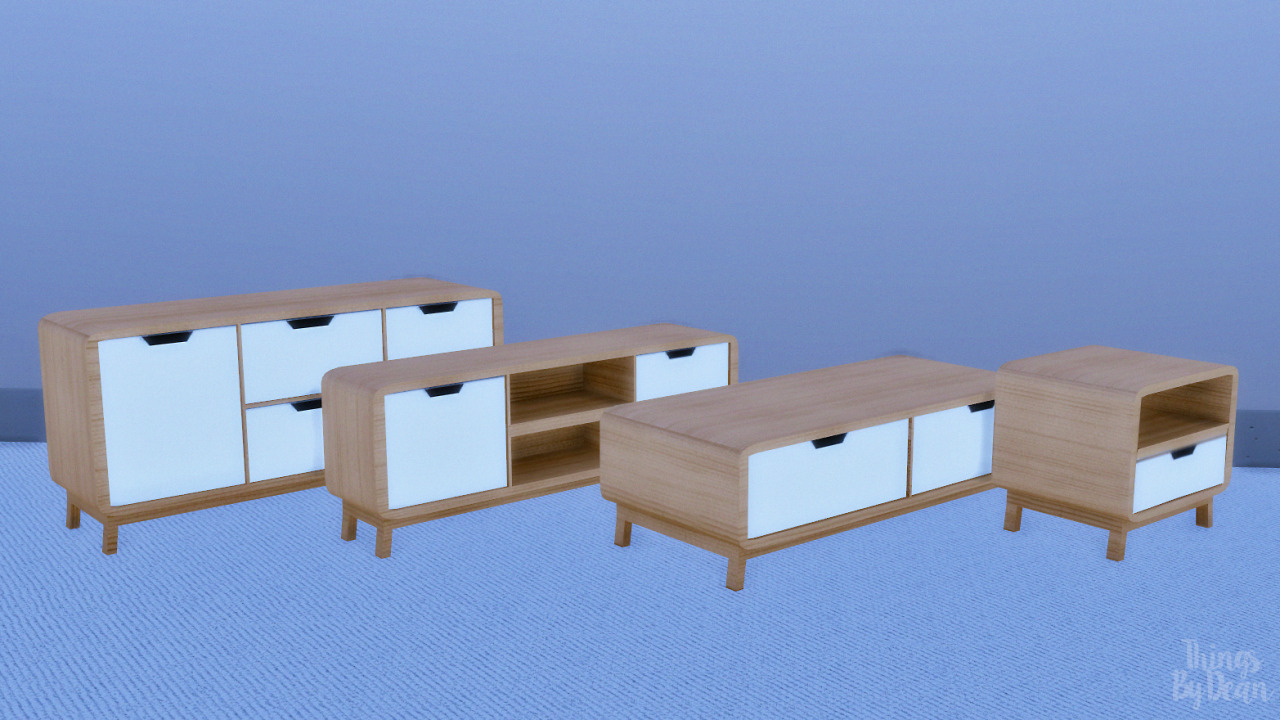 My Sims 4 Blog: Clean Retro Living Surfaces Set by ThingsByDean