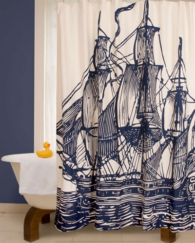 Ship Shower curtain in ink by Thomas Paul