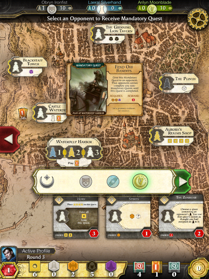 Lords of Waterdeep iPad Boardgame choices