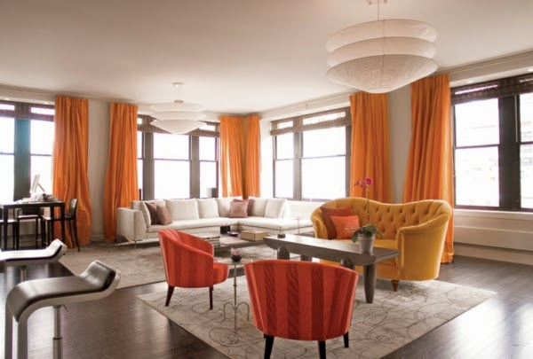 Whitelivingroomdesignideasorangecurtainsandfurniture Captivating Orange Curtains For Living Room Decorating Inspiration