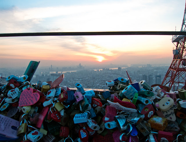 Love locks and sunset