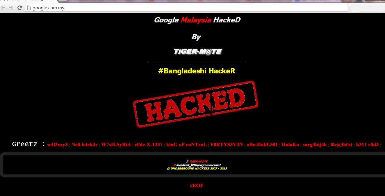 Tiger-M@Te, Google Malaysia, hacking Google Domain