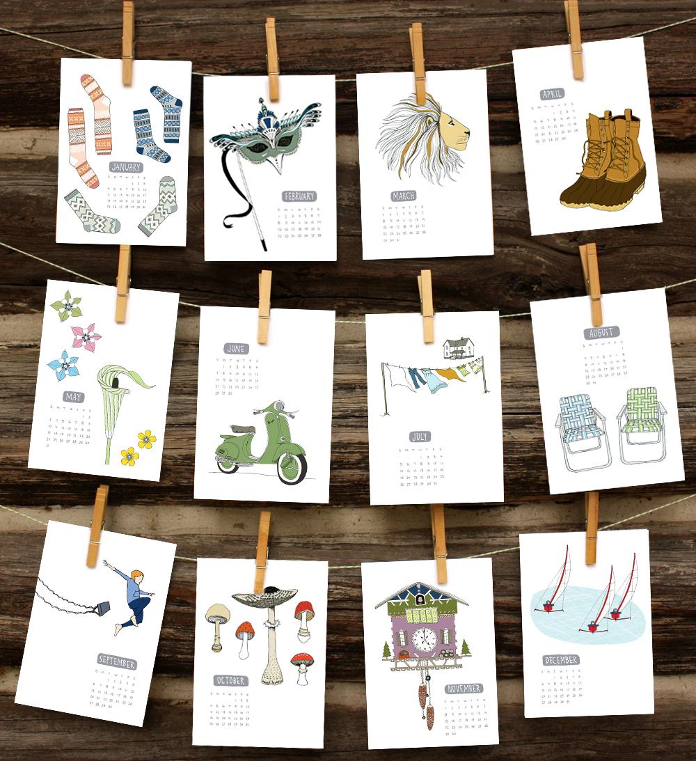 Calendar Illustration List : Sloe gin fizz illustrated calendar