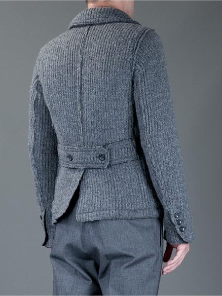 Dolce & Gabbana Gri Örme Yün Erkek Kabanı (arka görünüm)