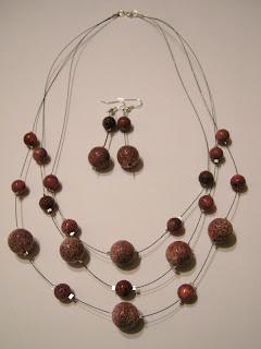 biżuteria z półfabrykatów - 3 razy koral (komplet)