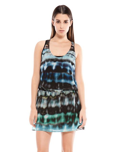 desenli bol kesim elbise, askılı elbise yuvarlak yaka elbise mavi siyah