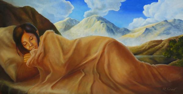 gambar lukisan orang tidur