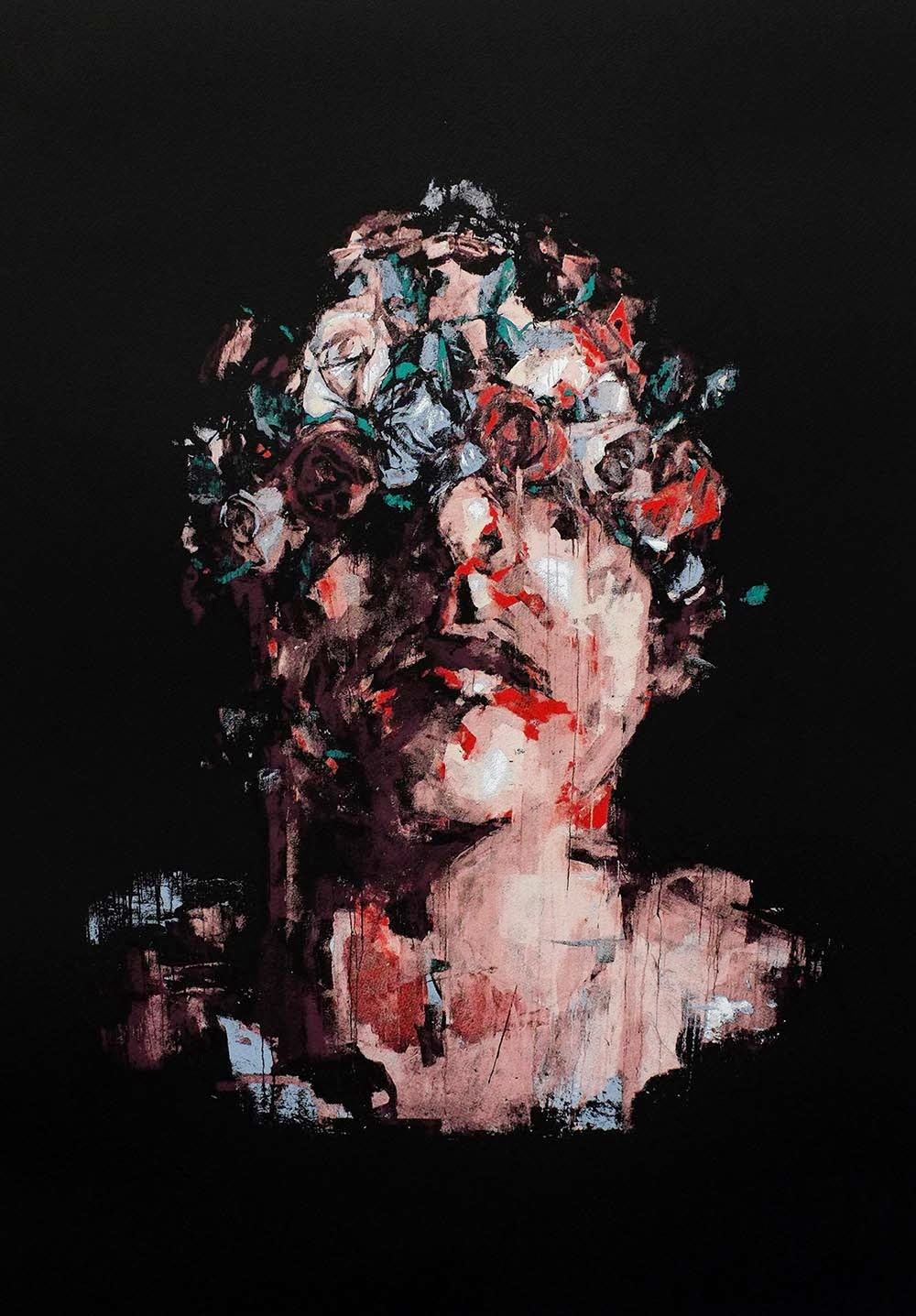 "Spanish artist Borondo is about to release a brand new screen-print entitled ""Fake Paradise"" via RexRomae."