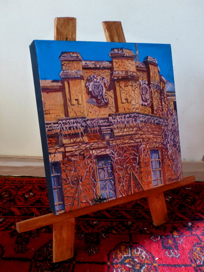 "oil painting of ""Terminus Hotel"" in Pyrmont displayed on a Table easel made of recycled timber by artist Jane Bennett"