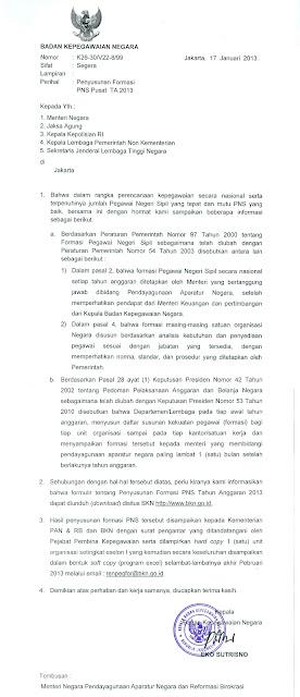 Surat Penyusunan Formasi CPNS Pusat 2013 dari BKN