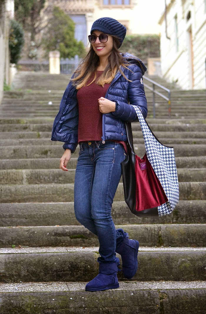 blue burgundy outfit