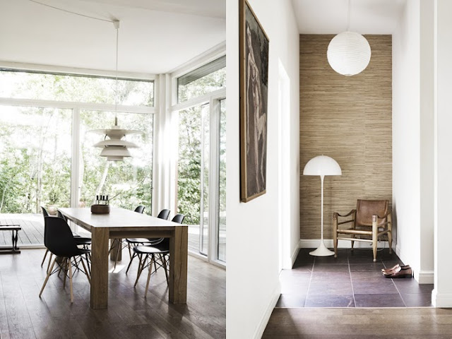 Simple, clean and modern dining room and hallway in a Danish home