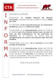 C.T.A. INFORMA CRÉDITO HORARIO MANUEL FERNANDEZ, ABRIL 2018