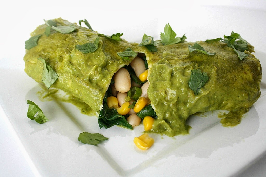 White Bean Spinach Enchiladas with Avocado Cilantro Sauce (pictured ...