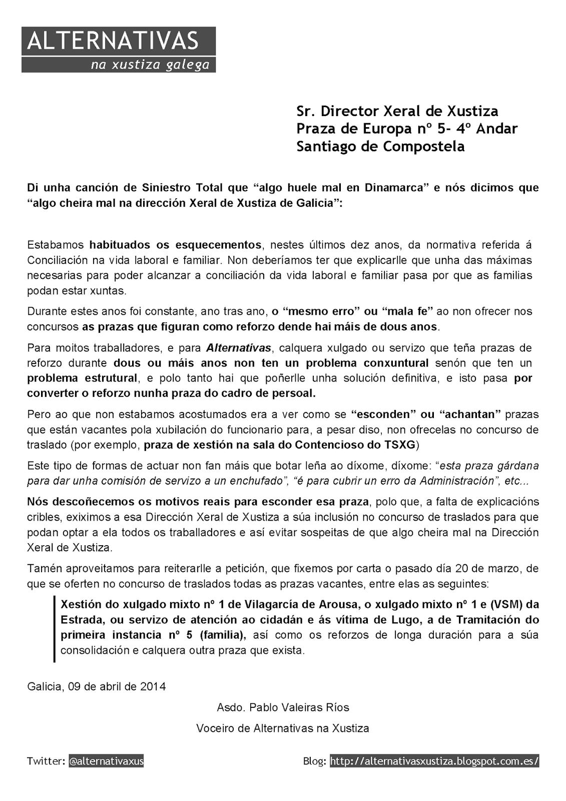 Carta remitida á Dirección Xeral de Xustiza