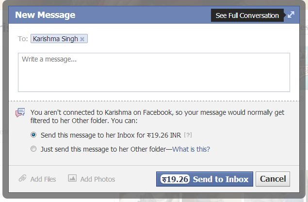 Facebook charging Money for sending message to inbox -how2labs.info