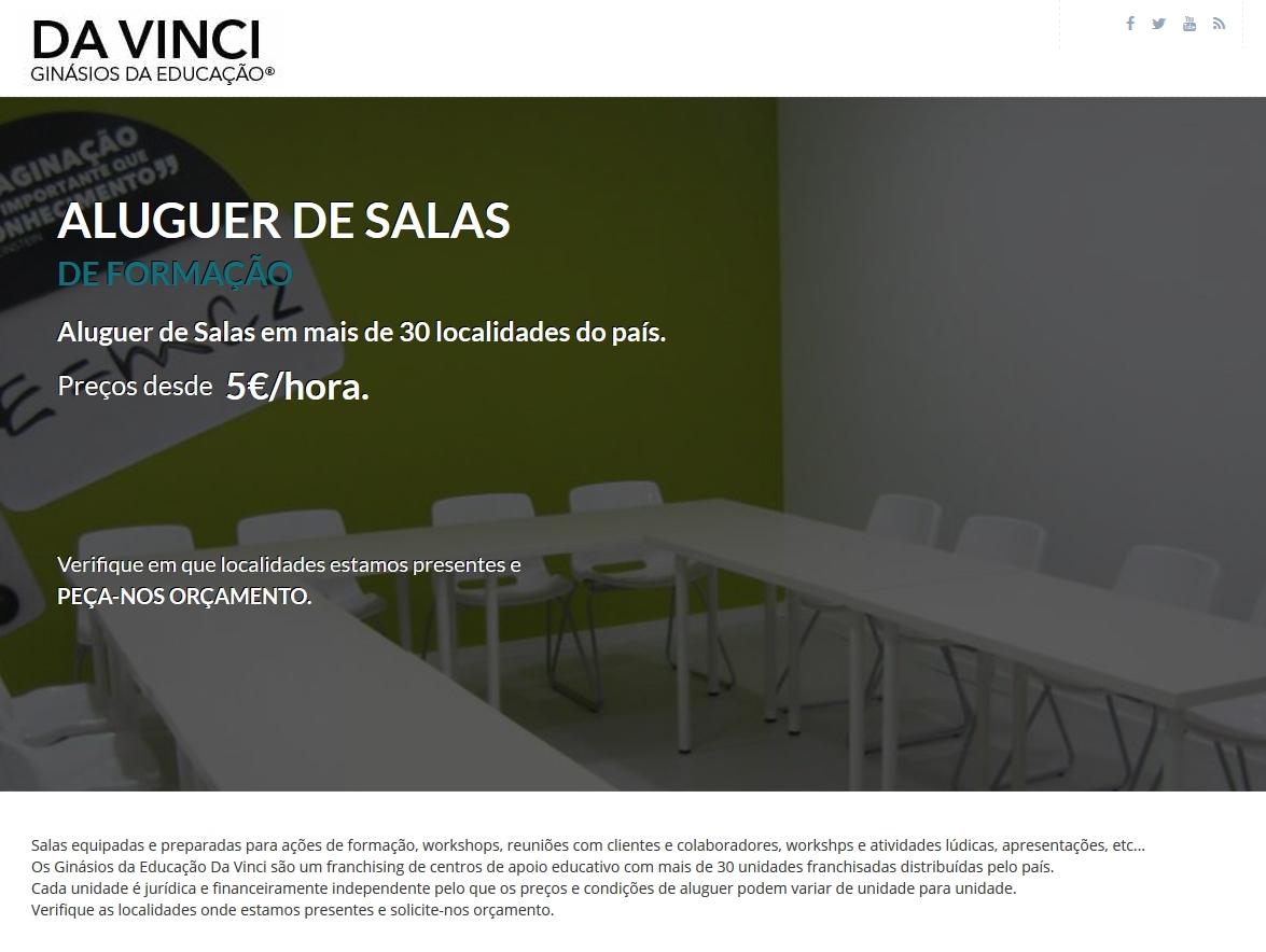 Site Aluguer de Sala