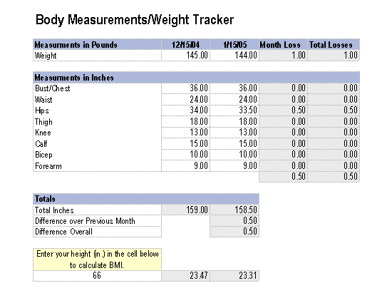 weight tracker in excel