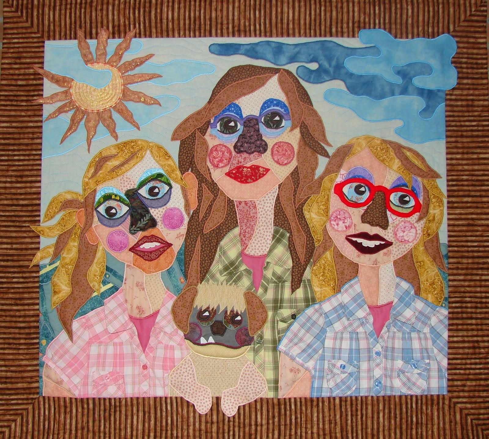 Vier gezusters bij wolken en zon
