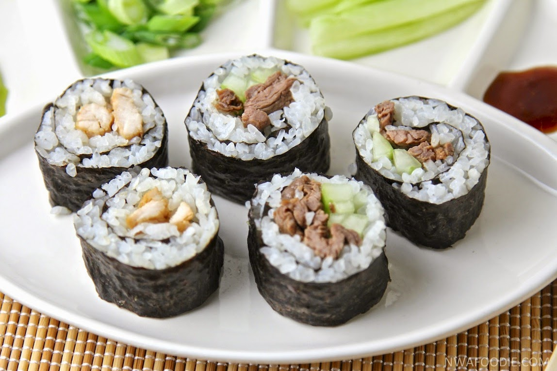 #denigris1889 Chicken and beef teriyaki sushi rolls - up close (c)nwafoodie