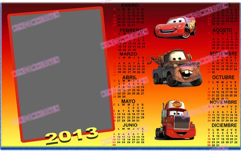 calendario 2013 psd png cars