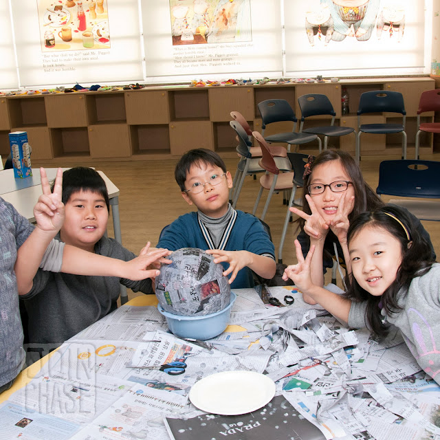 Students making a pinata during Winter English Camp at Bibong Elementary in Ochang, South Korea.
