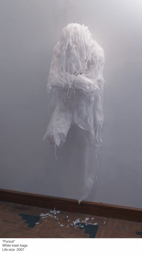 Khalil Chishtee sculptures made of plastic trash bags