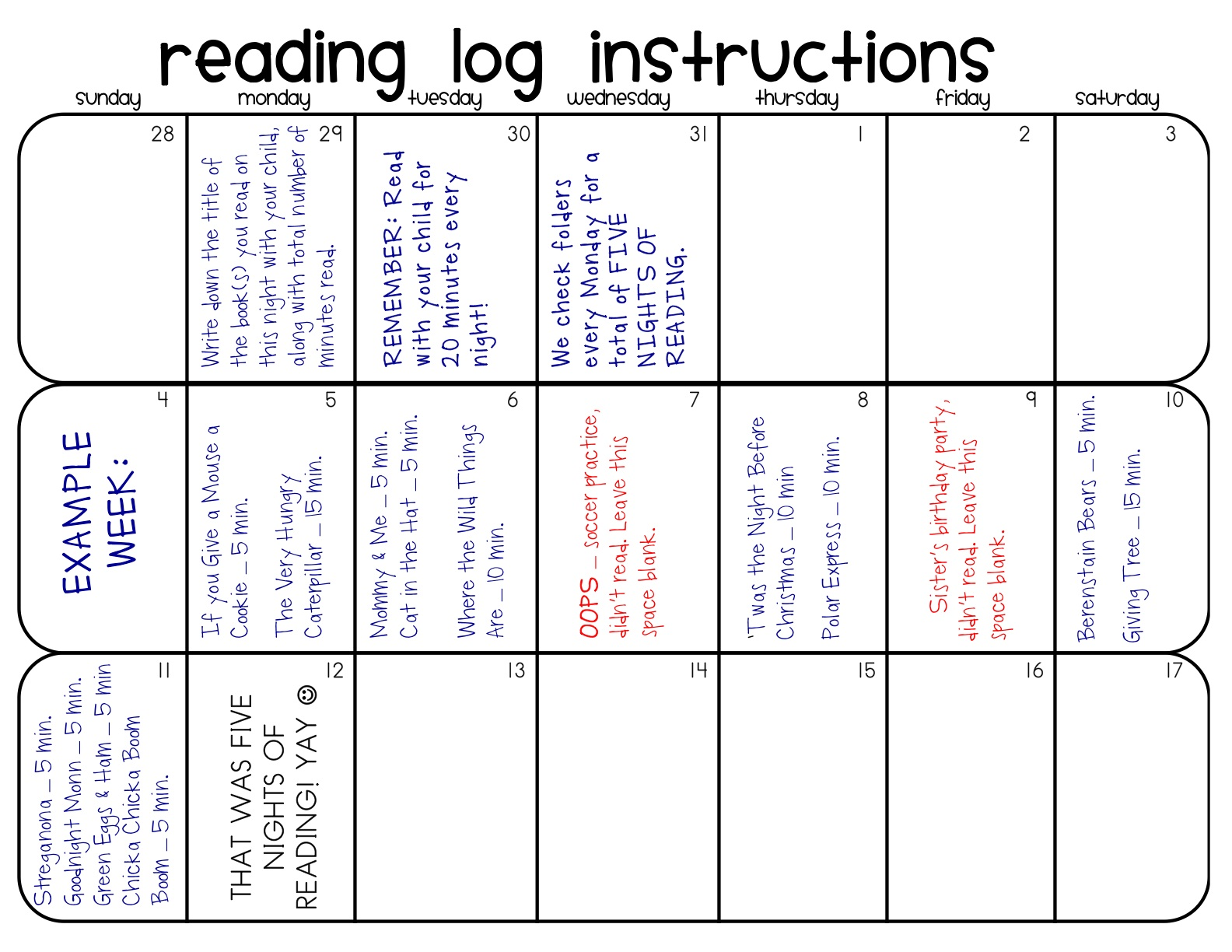 ... reading log instruction sheet incase you have different reading goals