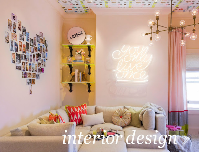 design, interior design, EM Design Interiors, Emily, room, decor, decorate, living room, neon sign, cute, pink, bright,