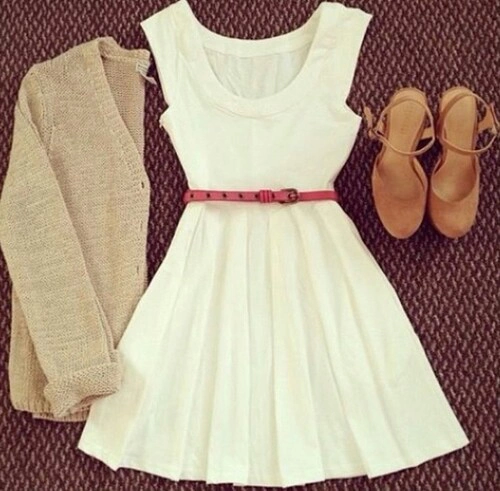 White Dress, Sweater, Heels,Bag, Sweater | Outfits