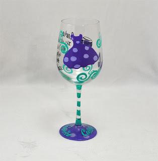 Hand Painted Wine Glass - Aqua Purple Lavender - Personalized Hand Painted Wine Glass