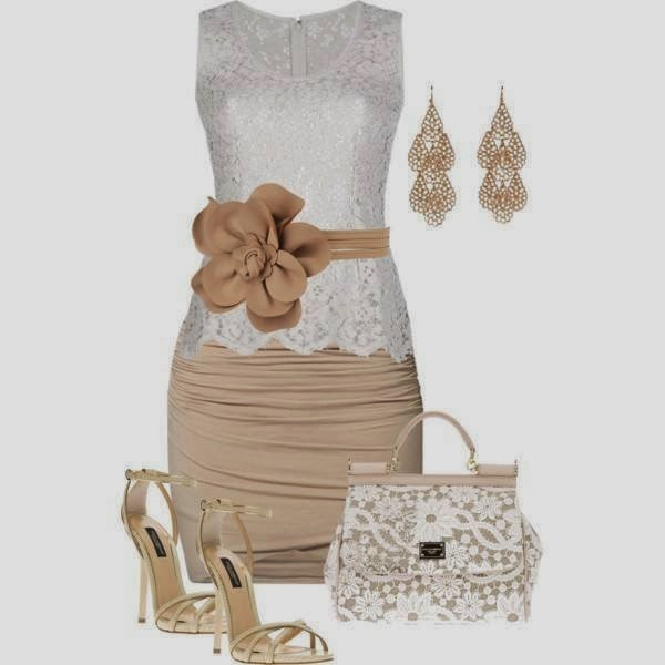 Amazing light grey wedding dress with brown skirt and high heels