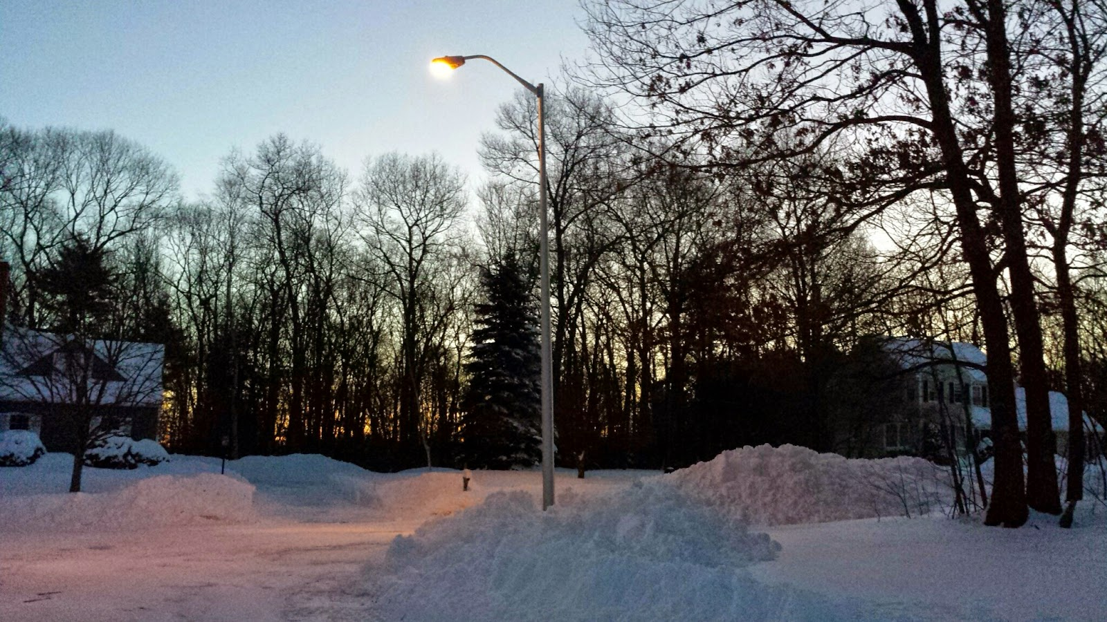 sunrise on a nearby corner in our snow covered wonder
