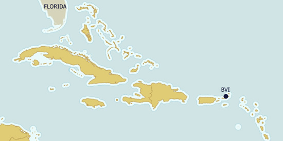 The British Virgin Islands (BVI) on the map
