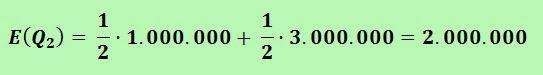 Cálculo de la ganancia estimada E(Q2) = 1/2 (1.000.000) + 1/2 (3.000.000) = 2.000.000