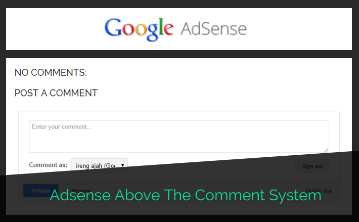 how to add adsense above the comment