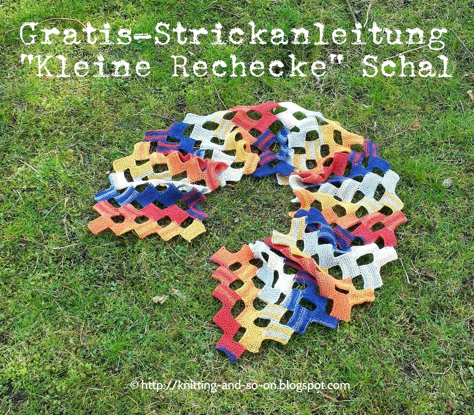 Gratis-Strickanleitung: Kleine Rechtecke-Schal (knitting-and-so-on.blogspot.com)