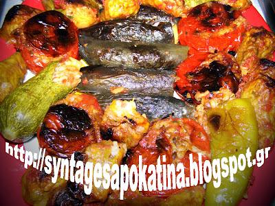 Τα γιομιστά της Κατίνας (ντομάτες, πιπεριές, μελιτζάνες, κολοκύθια, λουλούδια) http://syntagesapokatina.blogspot.gr